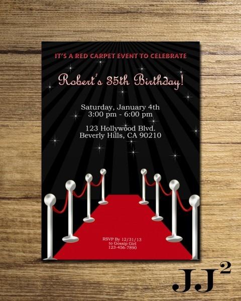 Invitation  Hollywood Party Invitations