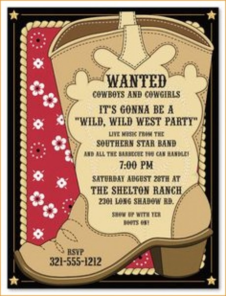 Party Invitations  Surprising Western Party Invitations Ideas