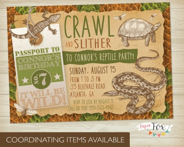 Reptile Party Invitations Printable Free