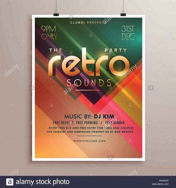 Retro Music Party Event Flyer Invitation Template Stock Vector Art