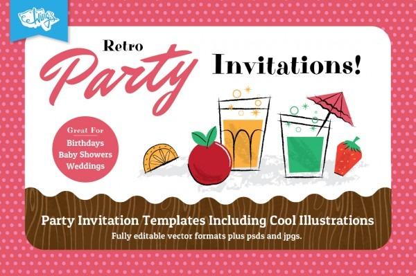 Retro Children's Party Invitations