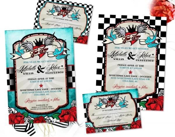 Rockabilly Wedding Invitations Rockabilly Wedding Invitations And