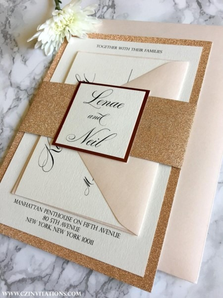 Rose Gold Glitter Wedding Invitation With Glitter Belly Band, Rose