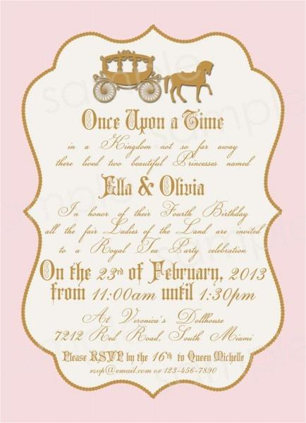 Royal Birthday Party Invitation Wording Royal Princess Birthday