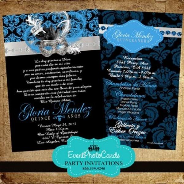 Masquerade Royal Blue Sweet Fifteen Invitations, Quinceanera