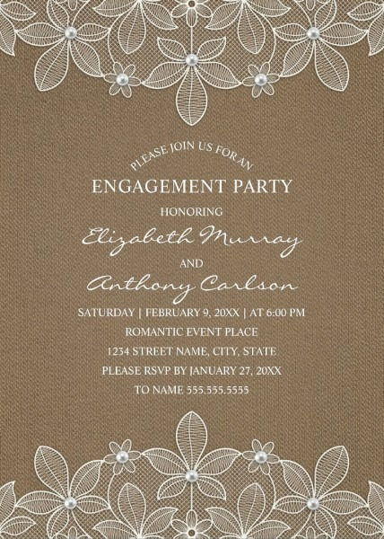 Rustic Burlap Engagement Party Invitations
