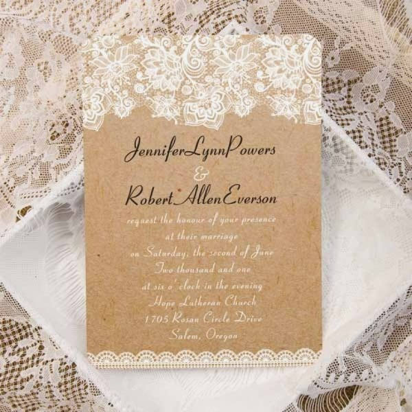 Rustic Lace Wedding Invitations Luxury Vintage Floral Lace Burlap