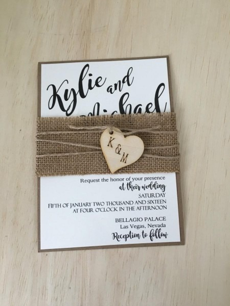 Rustic Wedding Invitation, Burlap Wedding Invitation, Country