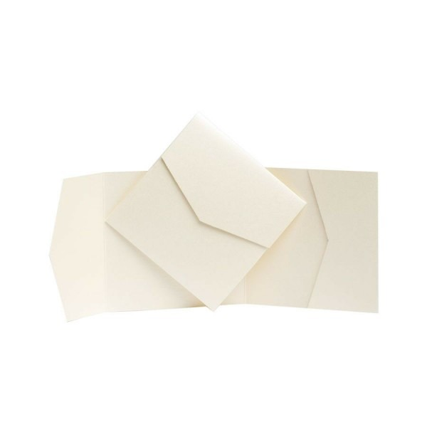 Ivory Pearl Pocket Fold Invites  Pocketfold Wallet Invitations Diy