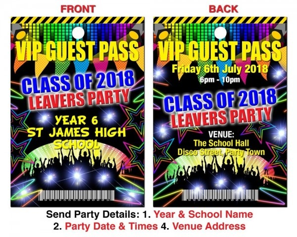 Birthday Party Invitation Lanyard Vip School Leavers Disco Party
