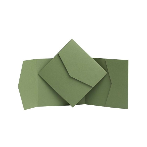 Sage Green Pocket Fold Invites  Pocketfold Wallet Invitations