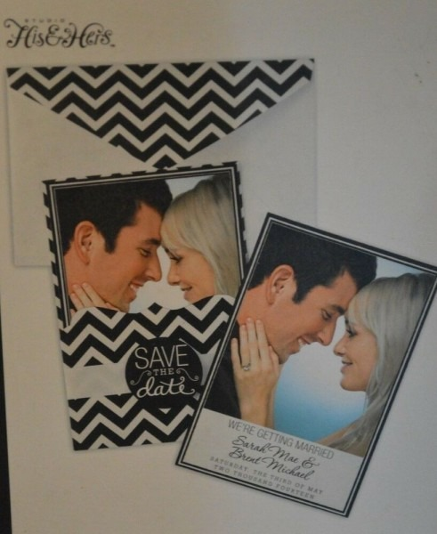 New Studio His And Hers Black White Chevron Wedding Invitations