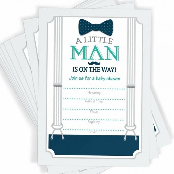 Little Man Themed Baby Shower Invitations