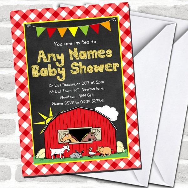 Country Barnyard Farm Animals Chalk Invitations Baby Shower