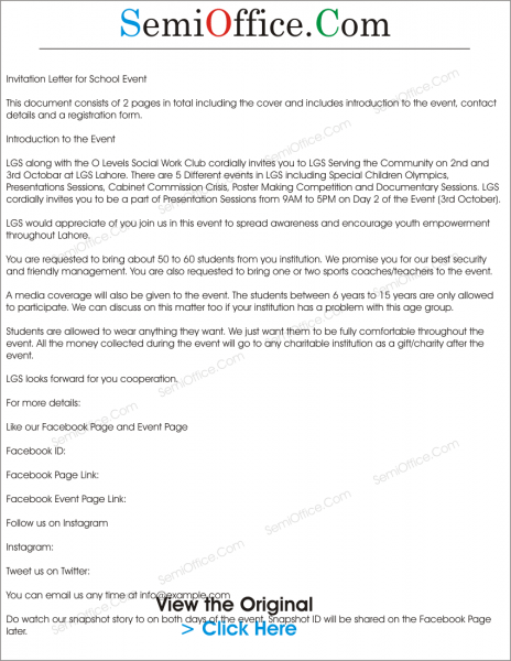 Invitation Letter To Media To Cover An Event