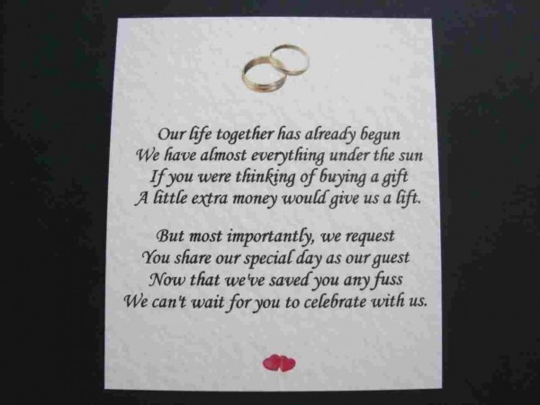 Sample Wedding Invitation Wording Cash Gift