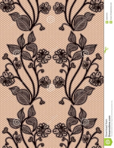 Seamless Lace Pattern  Black Fishnet Flowers On A Pink Background
