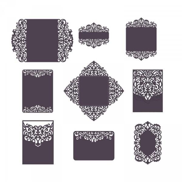 Set Laser Cut Wedding Invitation Templates Card   Envelope   Belly