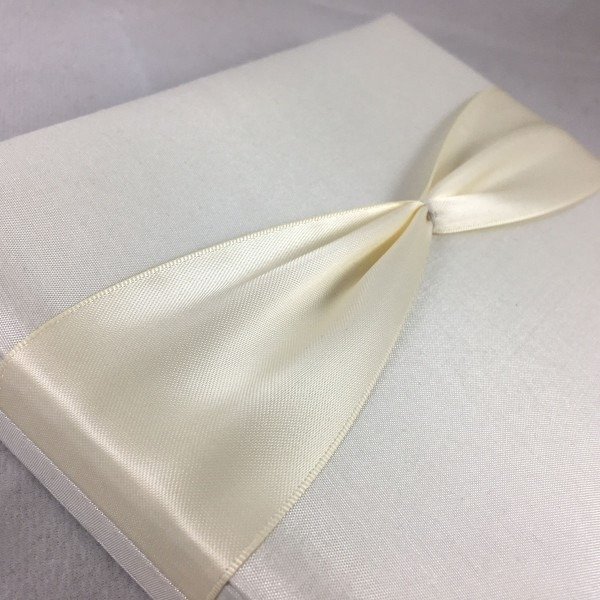 Ivory Boxed Wedding Invitation With Hinged Lid & Ribbon For Diy