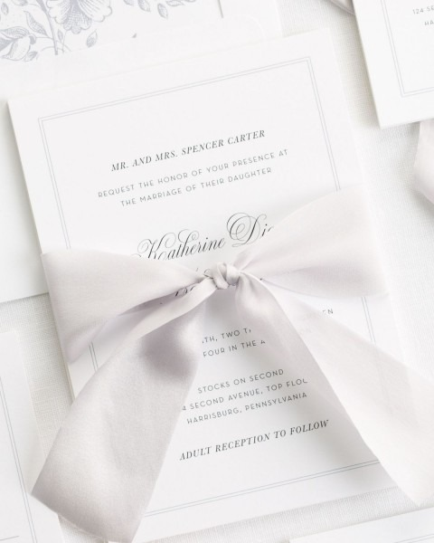 Classic Bordered Wedding Invitations With Platinum Silk Ribbon