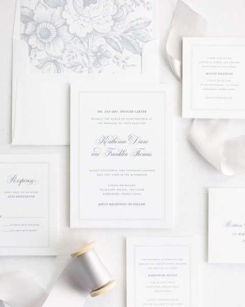 Timeless And Traditional Wedding Invitations With Ribbon – Wedding