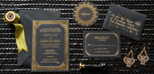 Gold And Silver Foil Wedding Invitations