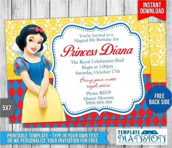 Snowball Party Invitations Snow White Birthday Invitation Template