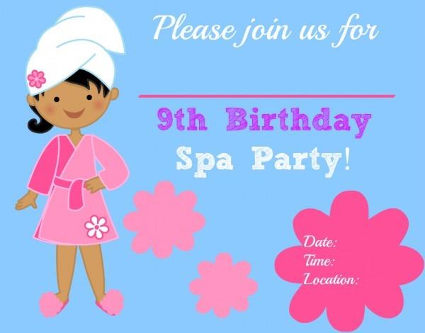 Spa Birthday Party Invitati Vintage Free Printable Spa Party