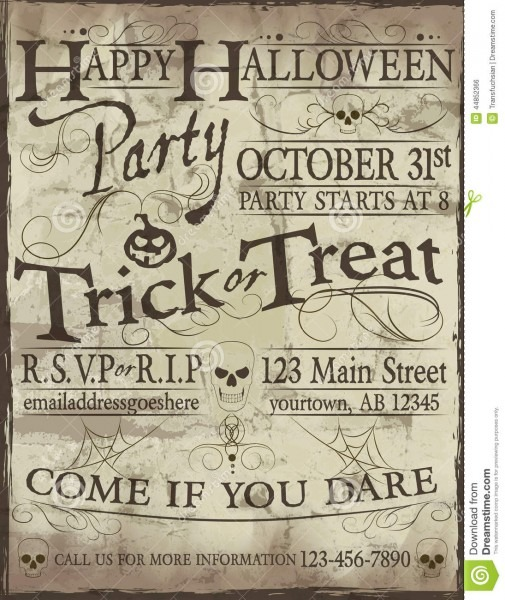 Spooky Halloween Party Invitation Stock Vector