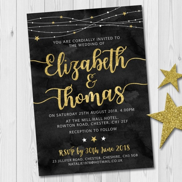 Gold Starry Night Wedding Invitation