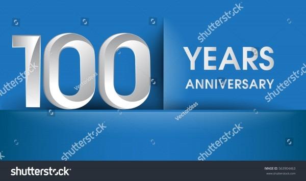 100 Years Anniversary Celebration Logo Flat Stock Vector (royalty