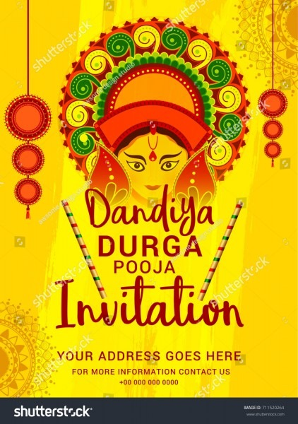 Creative Poster Flyer Dandiya Durga Pooja Stock Vector (royalty