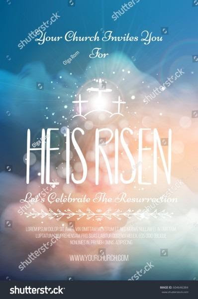 He Risen Vector Easter Religious Poster Stock Vector (royalty Free