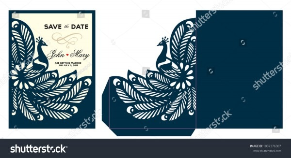 Laser Cut Template Peacock Lace Envelope Stock Vector (royalty