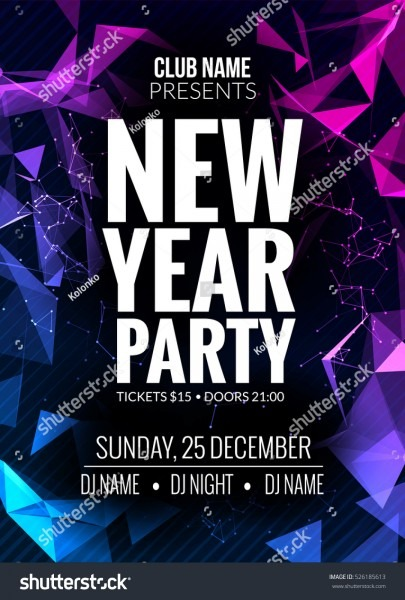 New Year Party Design Banner Event Stock Vector (royalty Free