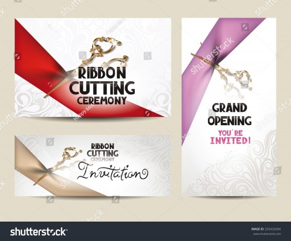 Stock Vector Ribbon Cutting Ceremony Invitation Cards With