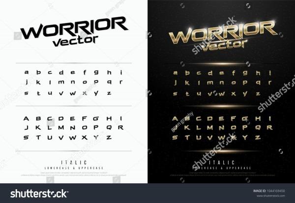 Technology Alphabet Golden Metallic Effect Designs Stock Vector