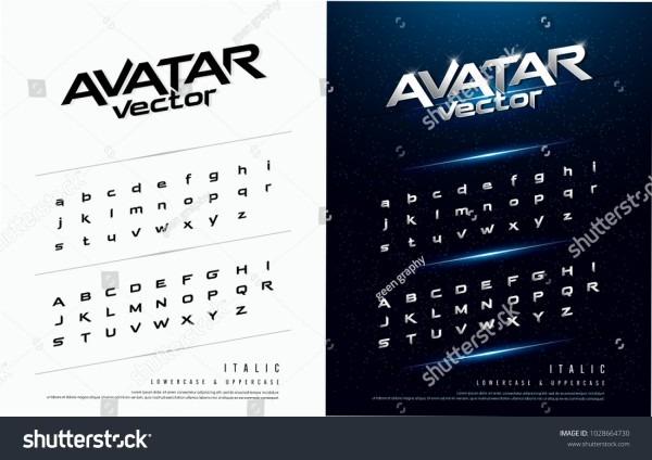 Technology Alphabet Silver Metallic Effect Designs Stock Vector