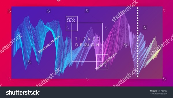 Ticket Design Party Invitation Template Gradient Stock Vector