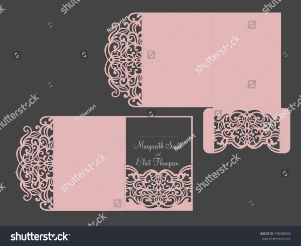 Tri Fold Pocket Envelope Laser Cut Stock Vector (royalty Free