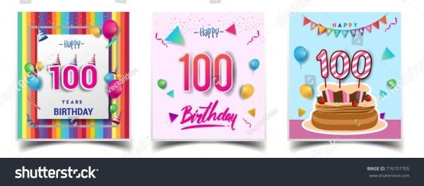 Vector Sets 100 Years Birthday Invitation Stock Vector (royalty
