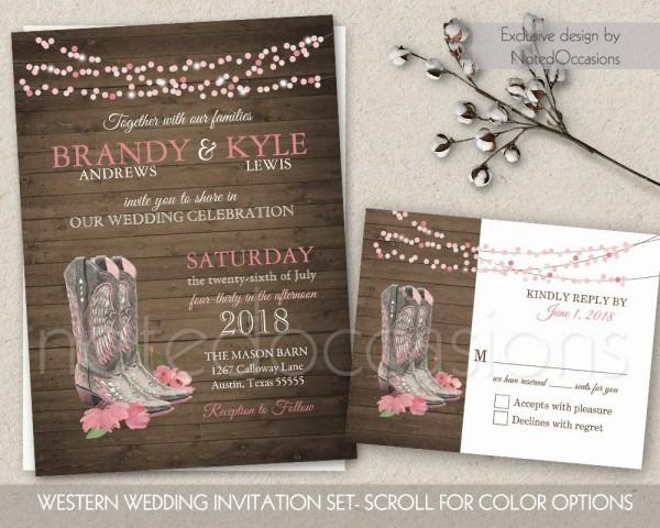 Stylish Western Wedding Invitations Western Wedding Invitations