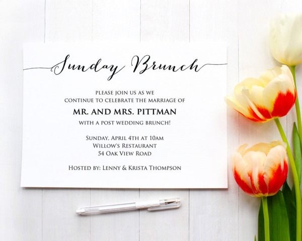 Sunday Brunch Details Card Insert · Wedding Templates And Printables