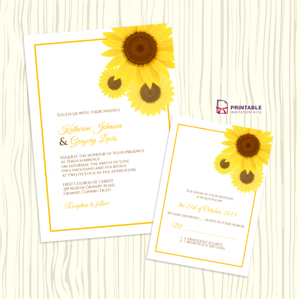 Sunflower Wedding Invitation + Rsvp Templates ← Wedding