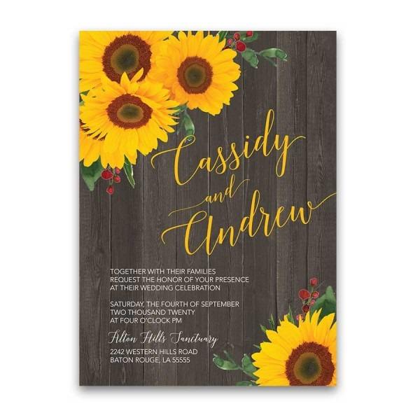 Sunflower Wedding Invitation Rustic Country Barn Wood Set