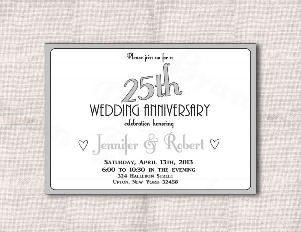 Wedding Invitation Wording For 25th Anniversary