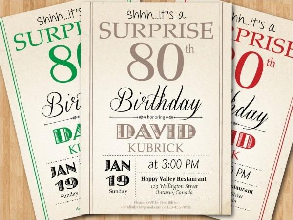 Surprise 80th Birthday Invitation Wording Surprise 80th Birthday