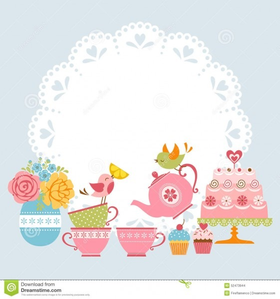 Tea Party Invitation Stock Vector  Illustration Of Flowers