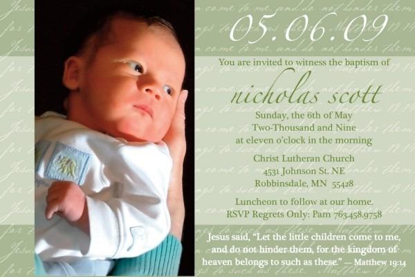 Child Dedication Invitation Message