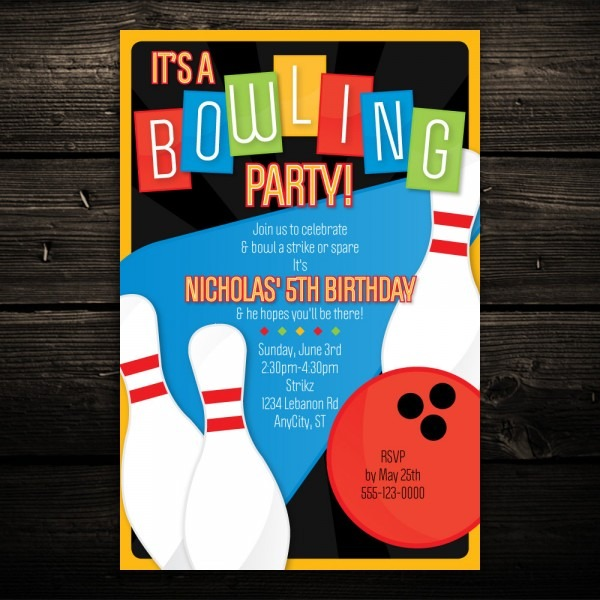 Templates New Of Bowling Party Invitations Templates Free